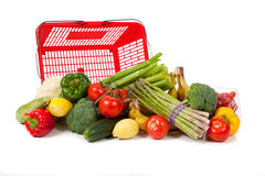 Assorted vegetables with a grocery sack Royalty Free Stock Images