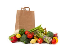 Assorted vegetables with a grocery sack Royalty Free Stock Image