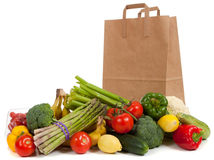 Assorted vegetables with a grocery sack Stock Photo