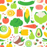 Assorted Vegetables Healthy Food Seamless Pattern Vector. Royalty Free Stock Image