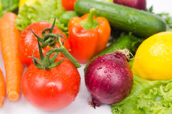 Assorted vegetables isolated on the white Stock Photo