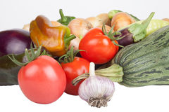 Assorted vegetables isolated on white background Stock Image