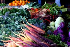 Assorted Vegetables at a Local Farmer's Market Royalty Free Stock Photography