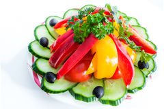 Assorted vegetables. olives, cucumbers, peppers Royalty Free Stock Image