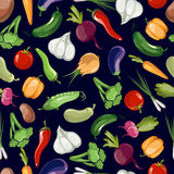 Assorted vegetables vector seamless pattern on black background Royalty Free Stock Images