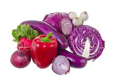 Assorted vegetables in violet gamma. Royalty Free Stock Photos