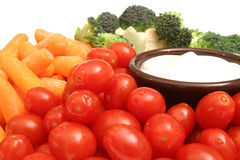Assorted vegetables w/dip. Shot of assorted vegetables w/dip Stock Photos