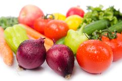 Assorted vegetables  on  white Stock Photography
