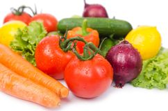 Assorted vegetables  on  white Royalty Free Stock Images