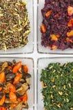 Assorted vegetarian salads. Four variants of assorted vegetarian salads stock image