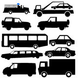 Assorted vehicle silhouettes Stock Images
