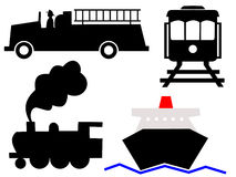 Assorted vehicles symbols Royalty Free Stock Image