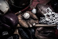 Assorted vintage sports equipment stock photo
