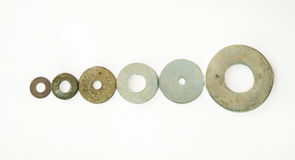 Assorted Washers Small to Large. High Quality Image of Assorted Washers Small to Large Royalty Free Stock Images