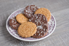 Assorted wheat cookies with chocolate ganache Stock Image