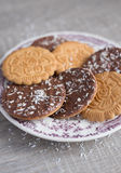 Assorted wheat cookies with chocolate ganache Royalty Free Stock Image