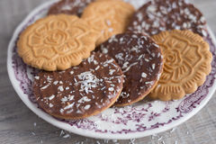 Assorted wheat cookies with chocolate ganache Stock Images