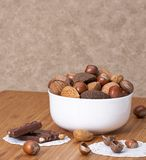Assorted Whole Nuts In A Bowl.  Royalty Free Stock Image