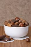 Assorted Whole Nuts In A Bowl.  Stock Image
