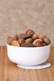 Assorted Whole Nuts In A Bowl.  Stock Images
