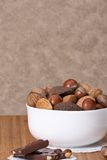 Assorted Whole Nuts In A Bowl.  Stock Photos