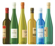 Assorted wine bottles. Six vector wine bottles with different labels Royalty Free Stock Photo