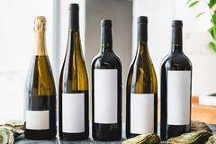 Assorted Wine in bottles. Alcoholic drinks in restaurant. Assorted Wine in bottles. Alcoholic drinks royalty free stock images