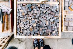 Assorted Wooden Alphabets Inside the Crate Stock Images