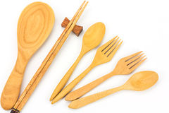 Assorted wooden tableware Stock Photo