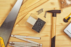 Assorted Woodwork and Carpentry or Construction Tools Royalty Free Stock Photo