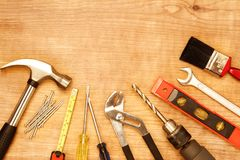 Assorted work tools. On wood Stock Photos