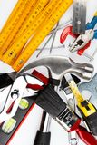 Assorted work tools. Assortment of tools on plain background Stock Photography