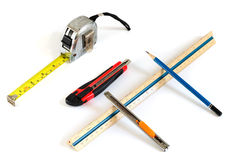 Assorted work tools. Isolated on a white background Royalty Free Stock Photo