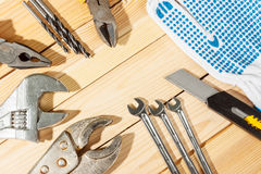 Assorted work tools Stock Photos