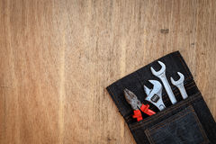 Assorted work tools on wood Stock Images