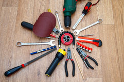 Assorted working tools for locksmith work Royalty Free Stock Images