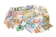 Assorted world banknotes Stock Photo