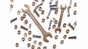 Assorted wrench,nuts and bolts broken heart, stop motion stock video