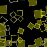 Scattered Squares Yellow. Assorted yellow squares over a black background in a digitally created seamless tiling image Royalty Free Stock Image