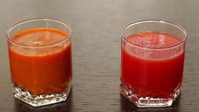 Assorti of various fresh juices. Vegetable and citrus  fresh  juices. Assorti of various fresh juices stock video