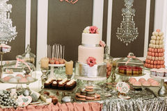 Assortie of the sweets and desserts on the wedding Royalty Free Stock Image