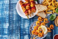 Assortiment de déjeuner de BBQ Image libre de droits