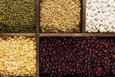 Assortiment de lentille rouge de haricots, lentille verte, pois chiche, pois, r Photo libre de droits