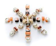 Assortiment de sushi d'isolement sur le fond blanc Photo libre de droits
