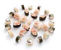 Assortiment de sushi d'isolement sur le fond blanc Photos stock