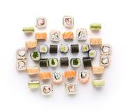 Assortiment de sushi d'isolement sur le fond blanc Photographie stock