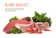 Assortiment de viande crue Photo stock