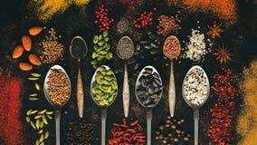 Assortiment des épices multicolores, graines, écrous dans des cuillères et sur un fond foncé Vue supérieure, configuration plate image libre de droits