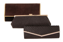 Assortiment des clutchs, sacs à main noirs d'élégance Photos stock