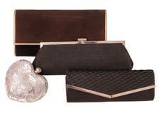 Assortiment des clutchs, sacs à main noirs d'élégance Photographie stock